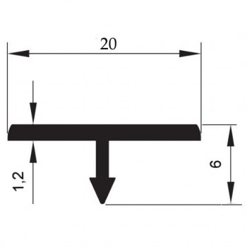 """Т"" образен профил 20 мм (разделител)"