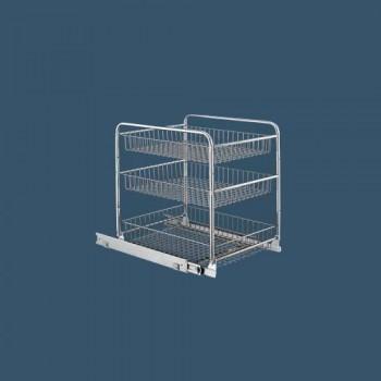 Триетажна кошница с долно водене за шкаф 400 мм